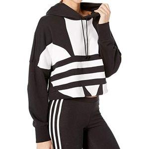 Adidas LARGE TREFOIL LOGO RAW HEM CROP SWEATSHIRT